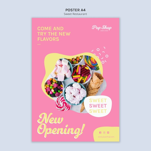 Poster for pop candy shop design Free Psd