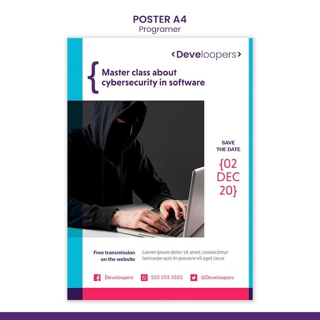 Шаблон рекламного плаката программиста Бесплатные Psd