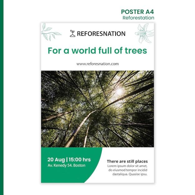 Modello di annuncio di riforestazione poster Psd Gratuite