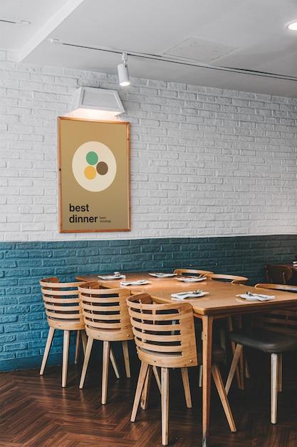 Poster in restaurant mockup Premium Psd