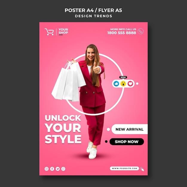 ポスターショッピング女性広告テンプレート 無料 Psd