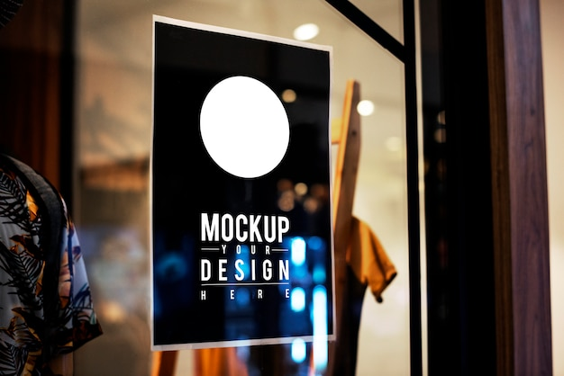 Poster sign mockup on a window Free Psd
