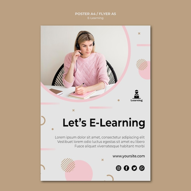 Poster style e-learning concept Free Psd