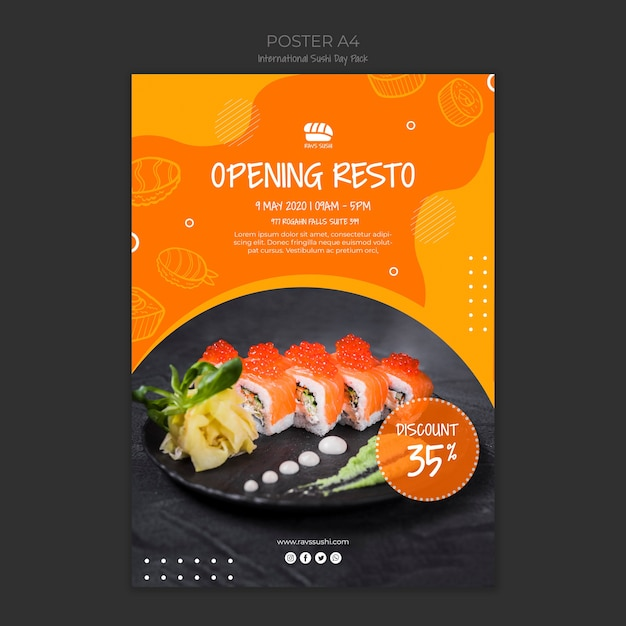 Poster for sushi restaurant Free Psd