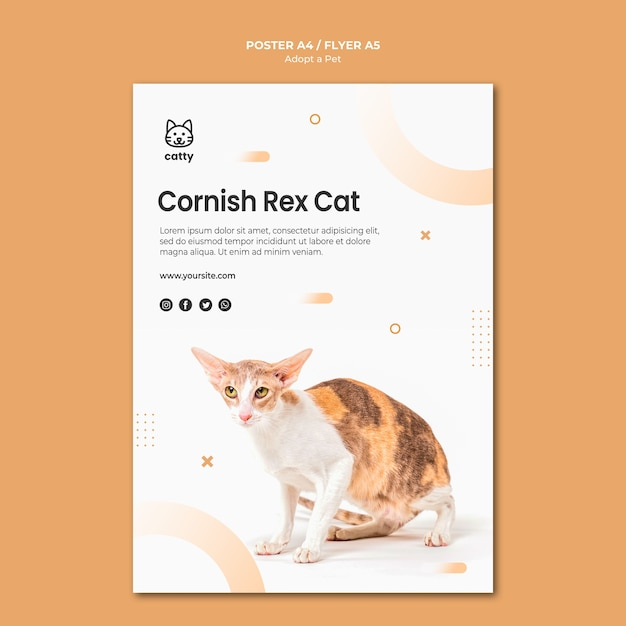 Poster template for adopting a pet Free Psd