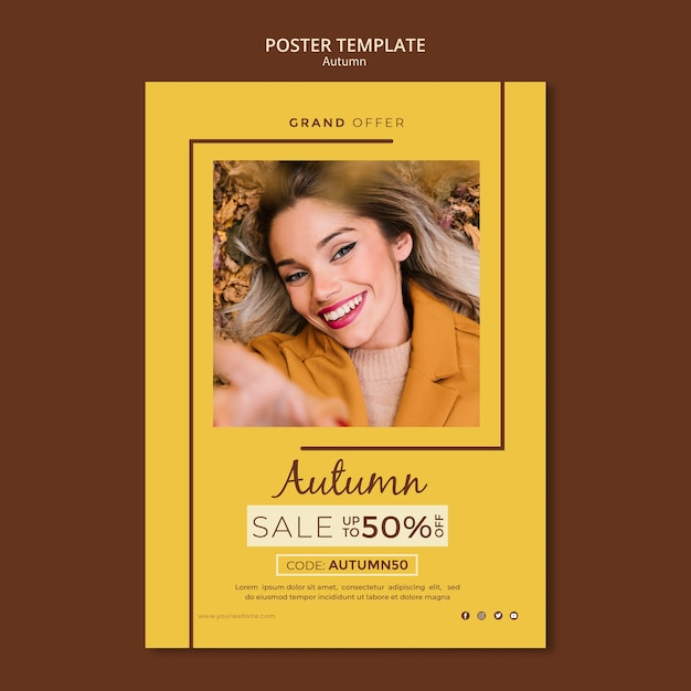 Poster template for autumn discount sales Free Psd