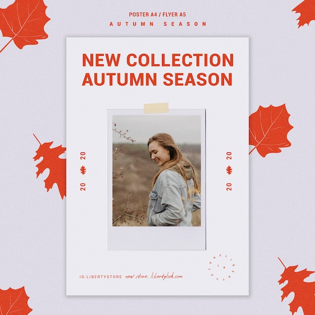 Poster template for autumn new clothing collection Free Psd
