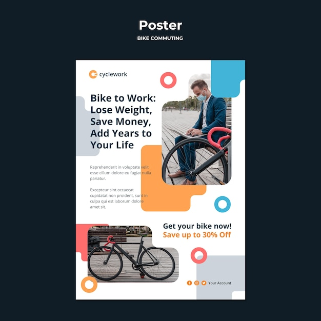 Poster template for bicycle commuting with male passenger Free Psd