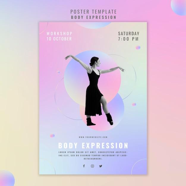 Modello di poster per workshop sull'espressione del corpo Psd Gratuite