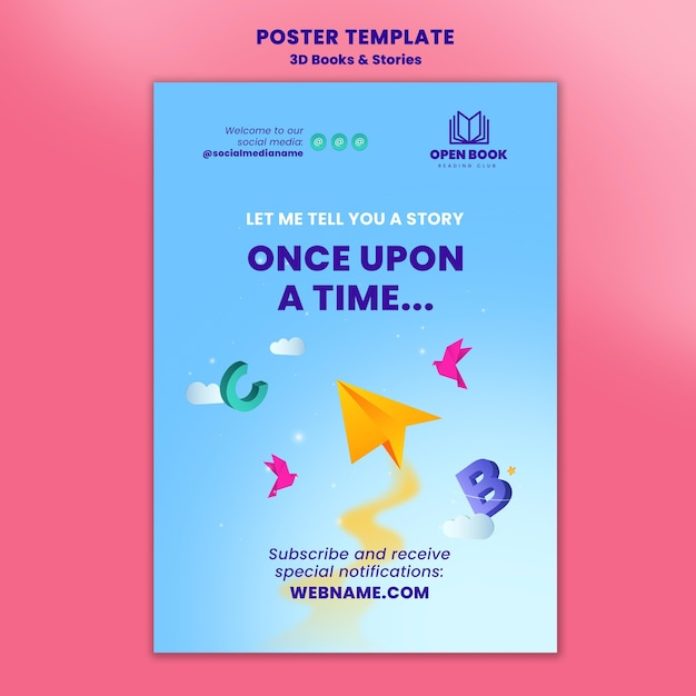 Poster template for books with stories and letters Free Psd