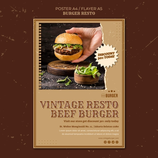Poster template for burger restaurant Free Psd