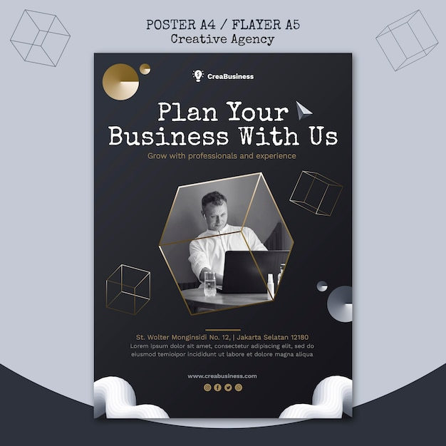 Poster template for business partnering company Free Psd