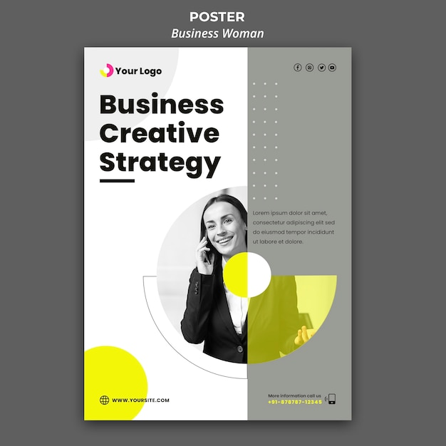 Poster template for businesswoman Free Psd