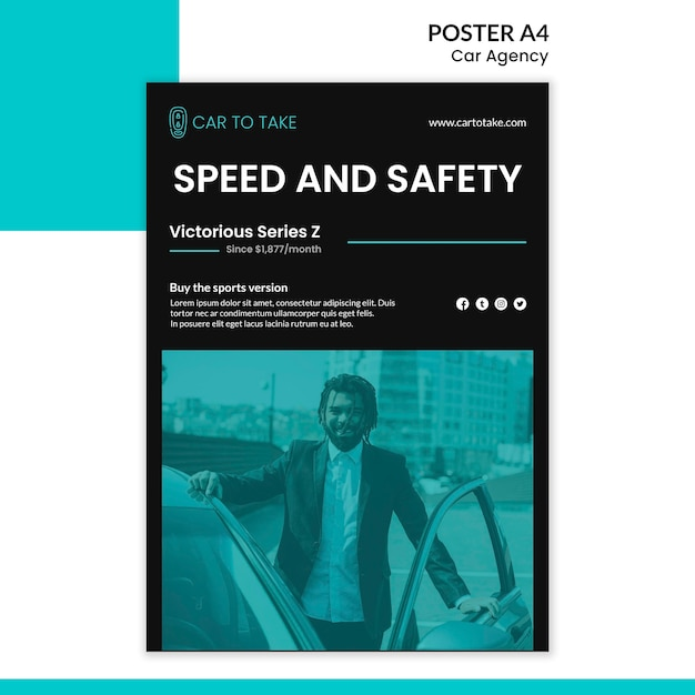 Poster template car agency ad Free Psd