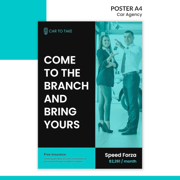 Poster template car agency Free Psd