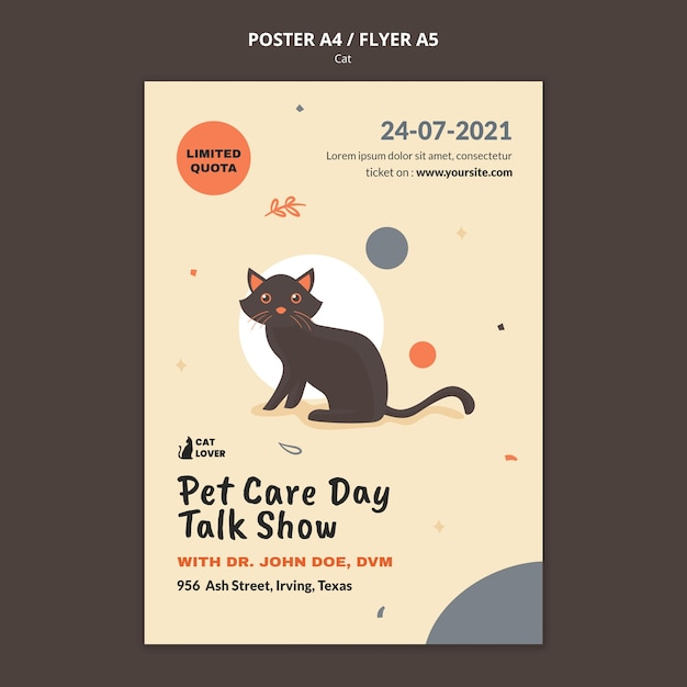 Poster template for cat adoption Free Psd