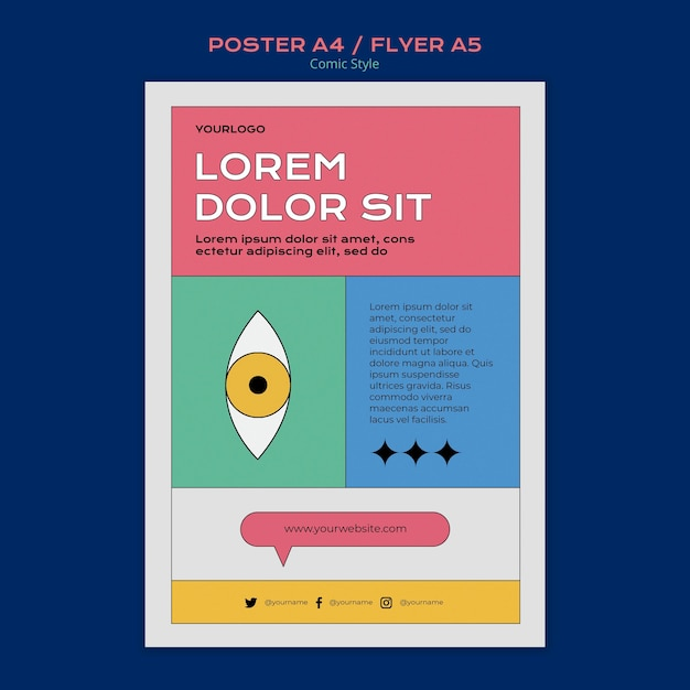 Poster template in comic style Premium Psd