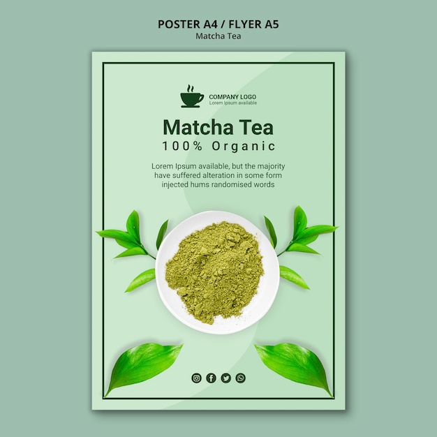 Poster template concept for matcha tea Free Psd