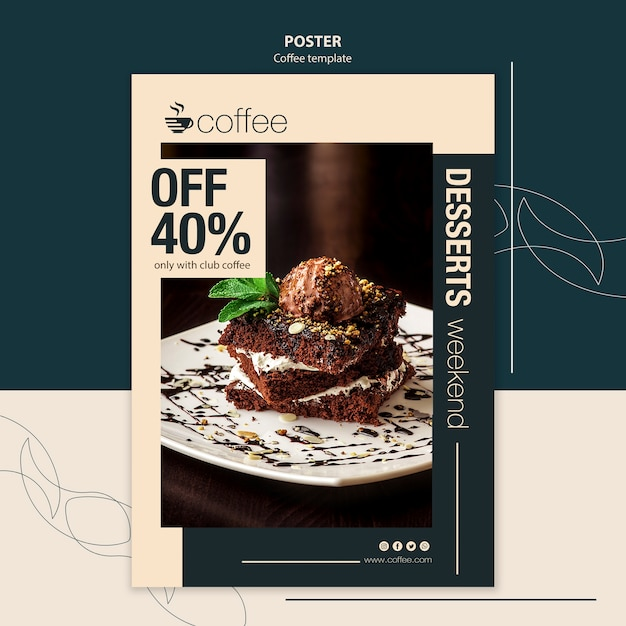 Poster template concept with coffee Free Psd