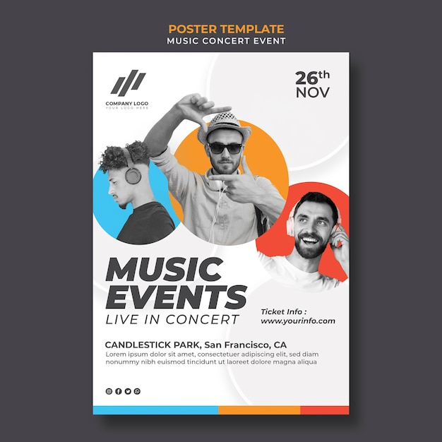 Poster template for concert Free Psd