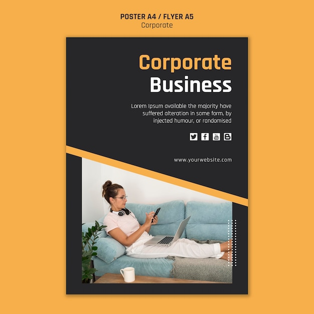 Poster template for corporate business Free Psd