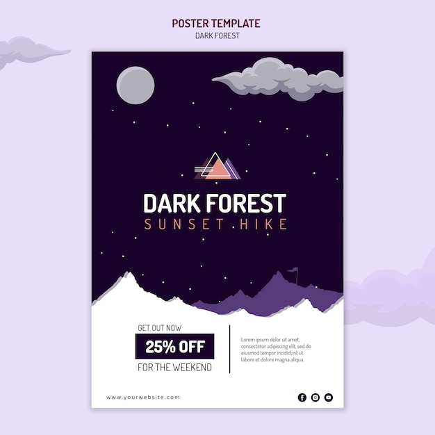 Poster template for dark forest hiking Free Psd