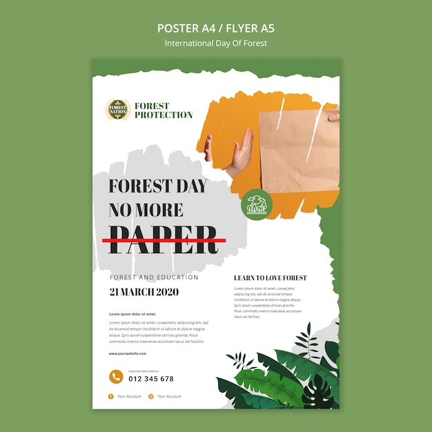 Poster template for day of forest with nature Free Psd
