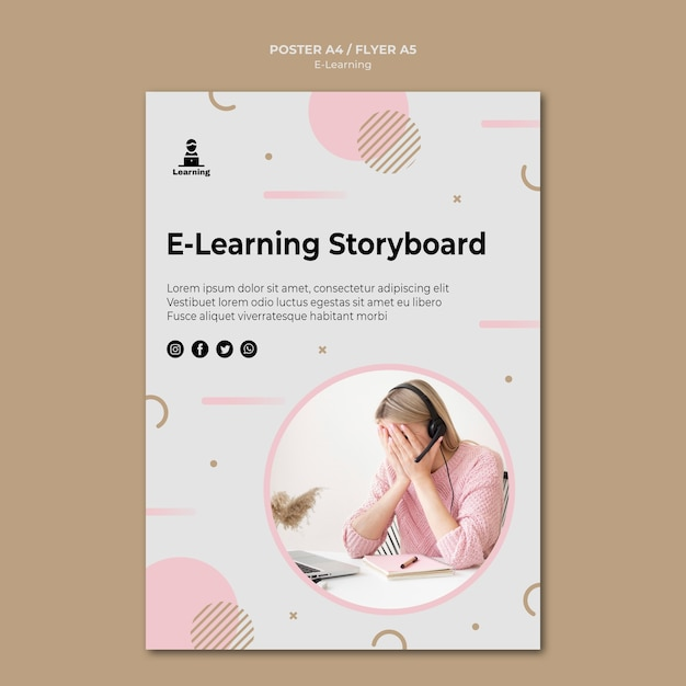 Poster template design e-learning concept Free Psd