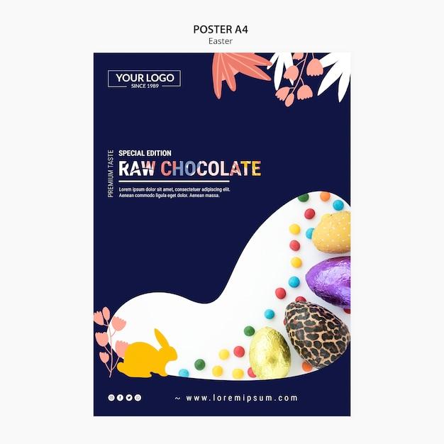 Дизайн шаблона плаката с темным шоколадом на пасху Бесплатные Psd