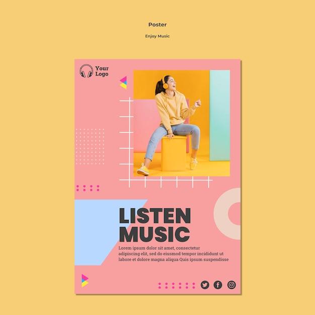 Modello di poster per godersi la musica Psd Gratuite