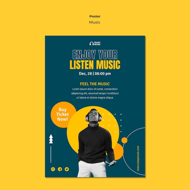 Poster template for enjoying music Free Psd