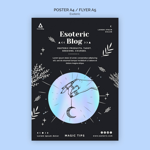 Poster template for esoteric blog Premium Psd
