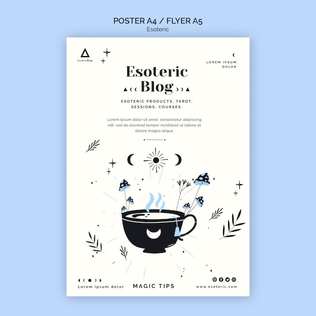 Poster template for esoteric blog Free Psd