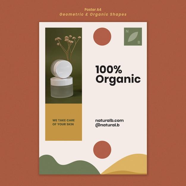 Modello di poster per podio bottiglia di olio essenziale con forme geometriche Psd Gratuite