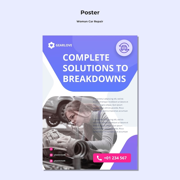 Poster template for female auto mechanic Free Psd
