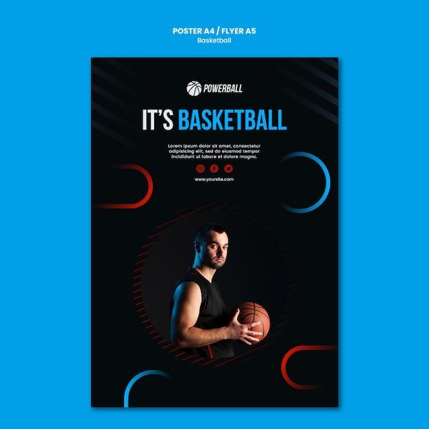 Шаблон плаката для игры в баскетбол Бесплатные Psd