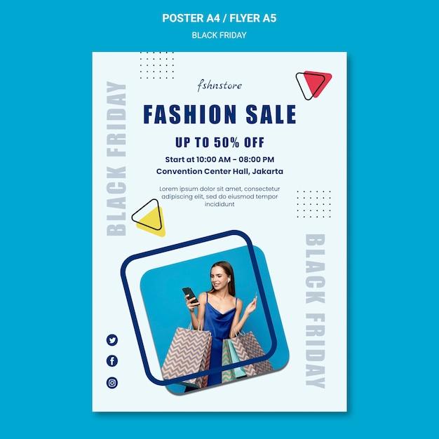 여자와 삼각형 검은 금요일 포스터 템플릿 무료 PSD 파일
