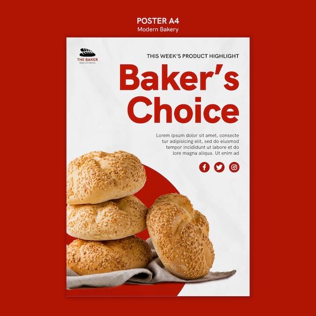 パン料理事業のポスターテンプレート 無料 Psd