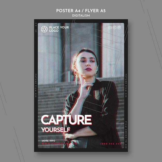 자신을 캡처 테마 포스터 템플릿 무료 PSD 파일