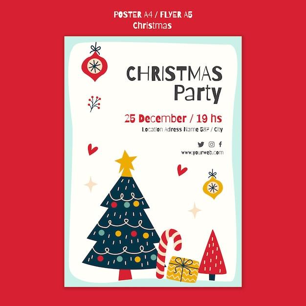 クリスマスパーティーのポスターテンプレート 無料 Psd