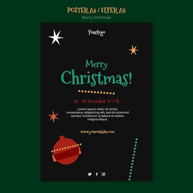 Шаблон плаката на рождество Бесплатные Psd