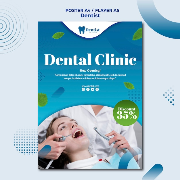Шаблон постера для ухода за зубами Бесплатные Psd