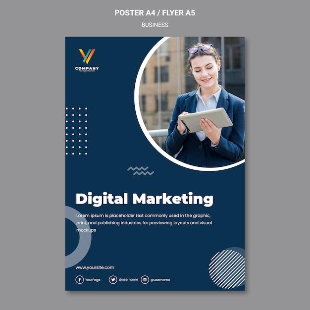 デジタルマーケティング代理店のポスターテンプレート 無料 Psd