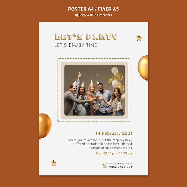 사람과 풍선 dj 파티 포스터 템플릿 무료 PSD 파일