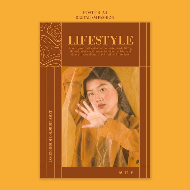 Шаблон постера для модного образа жизни Бесплатные Psd