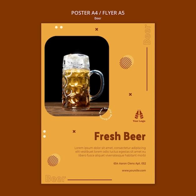 Шаблон плаката для свежего пива Бесплатные Psd