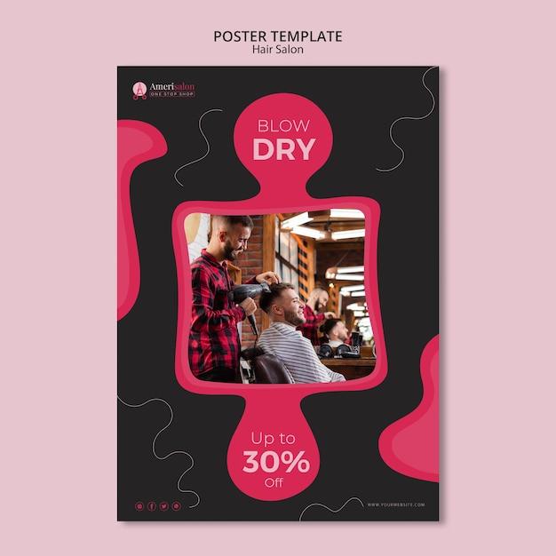 Шаблон постера для парикмахерской Бесплатные Psd