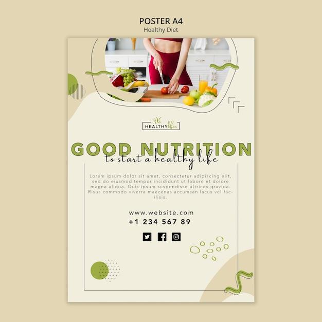 건강한 영양을위한 포스터 템플릿 무료 PSD 파일