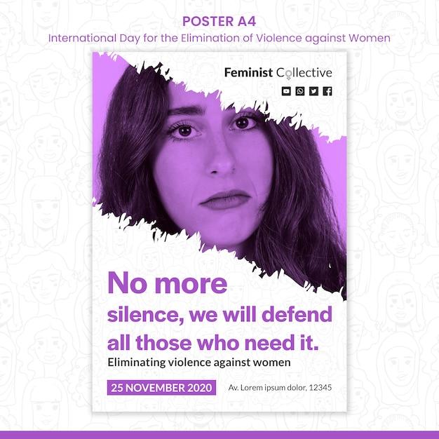 女性に対する暴力をなくすための国際デーのポスターテンプレート 無料 Psd