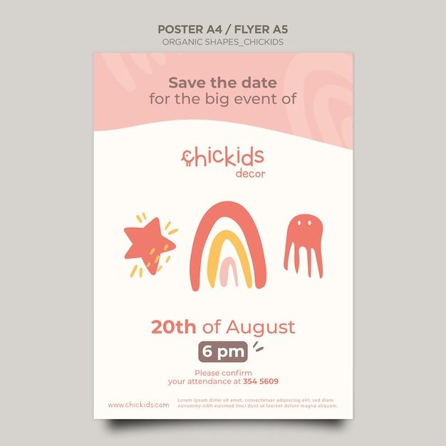 어린이 인테리어 장식 가게 포스터 템플릿 무료 PSD 파일